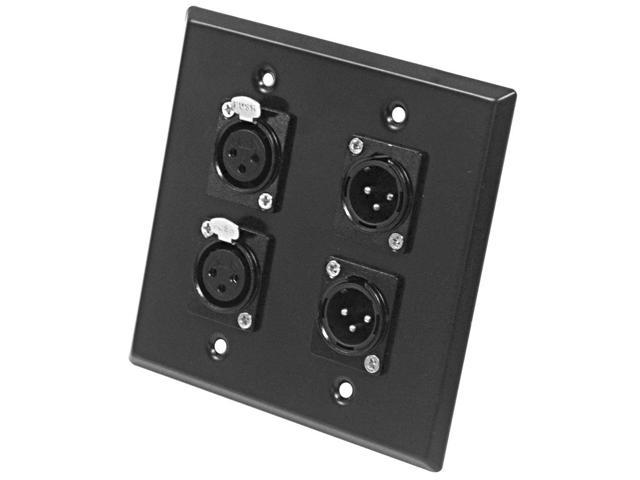 Seismic Audio - SA-PLATE25 - Black Stainless Steel Wall Plate - 2 Gang XLR Male and Female Connectors - Cable Installation