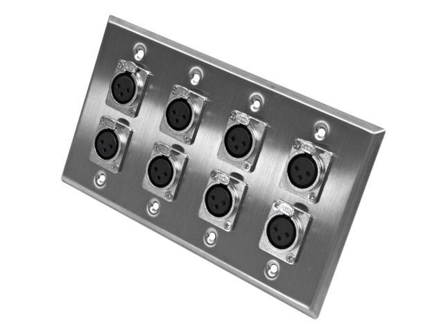 Seismic Audio - SA-PLATE1 - Stainless Steel Wall Plate - 4 Gang with 8 XLR Female Connectors - Cable Installation