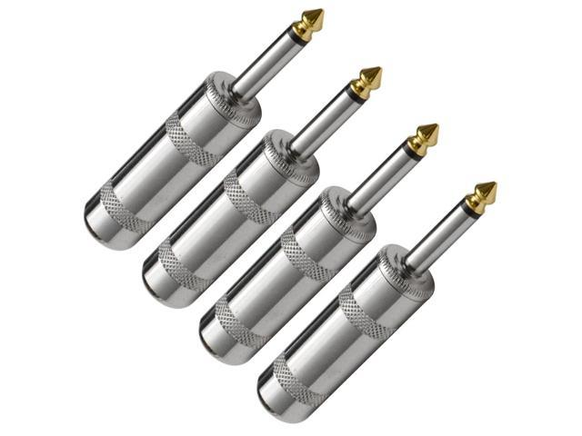 Seismic Audio - 4 Pack of Large Barrel Mono Nickel Connectors 1/4