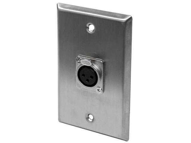 Seismic Audio - SA-PLATE12 - Single XLR Female Connector Stainless Steel Wall Plate - Cable Installation