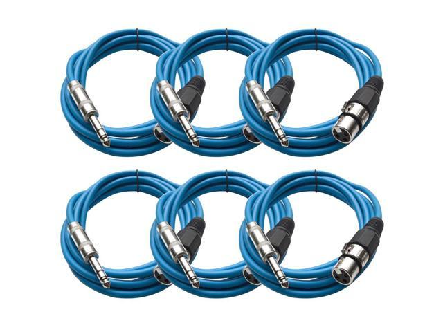 Seismic Audio - 6 Pack of Blue 10 foot XLR Female to TRS Male Patch Cables - Snake Microphone Cord