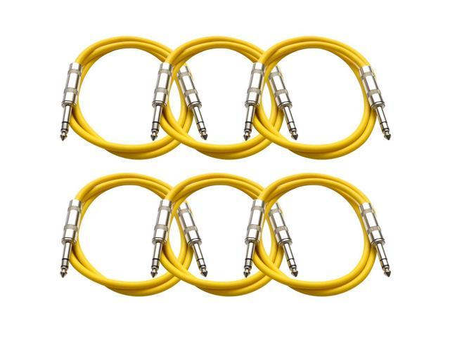 Seismic Audio - 6 Pack of Yellow 3 foot TRS to TRS Patch Cables - Snake Microphone Cord