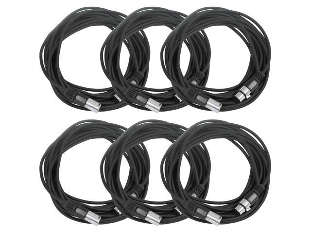Seismic Audio - 6 Pack of Black 25' XLR male to XLR female Microphone Cables