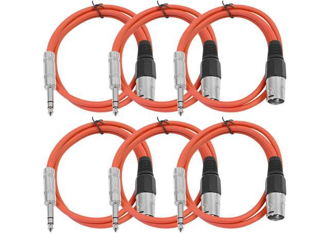 Seismic Audio - 6 Pack of Red 2 foot XLR Male to TRS Male Patch Cables - Snake Microphone Cord