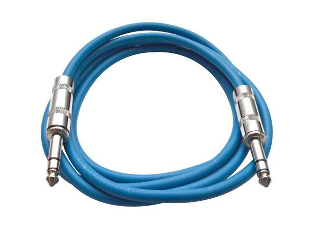 Seismic Audio - Blue 6 foot TRS to TRS Patch Cable - Snake Microphone Cord