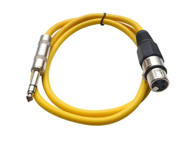 Seismic Audio - Yellow 2 foot XLR Female to TRS Male Patch Cable - Snake Microphone Cord