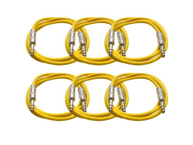 Seismic Audio - 6 Pack of Yellow 6 foot TRS to TRS Patch Cables - Snake Microphone Cord