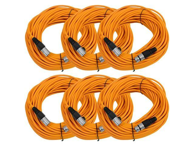 Seismic Audio - 6 Pack of Orange 100' XLR male to XLR female Microphone Cables
