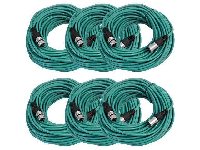 Seismic Audio - 6 Pack of Green 100' XLR male to XLR female Microphone Cables