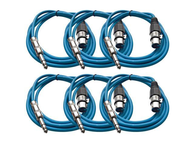 Seismic Audio - 6 Pack of Blue 6 foot XLR Female to TRS Male Patch Cables - Snake Microphone Cord
