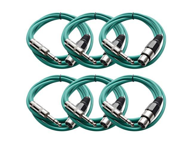Seismic Audio - 6 Pack of Green 6 foot XLR Female to TRS Male Patch Cables - Snake Microphone Cord