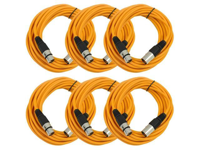 Seismic Audio - 6 Pack of Orange 25' XLR male to XLR female Microphone Cables