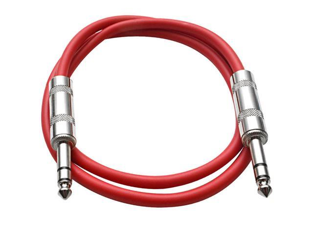 Seismic Audio - Red 3 foot TRS to TRS Patch Cable - Snake Microphone Cord