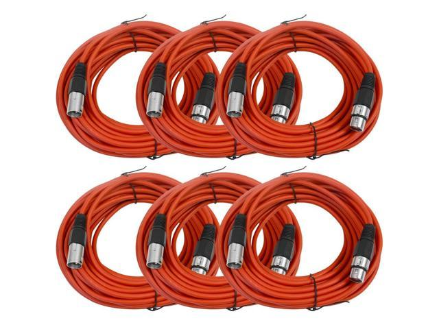 Seismic Audio - 6 Pack of Red 50' XLR male to XLR female Microphone Cables