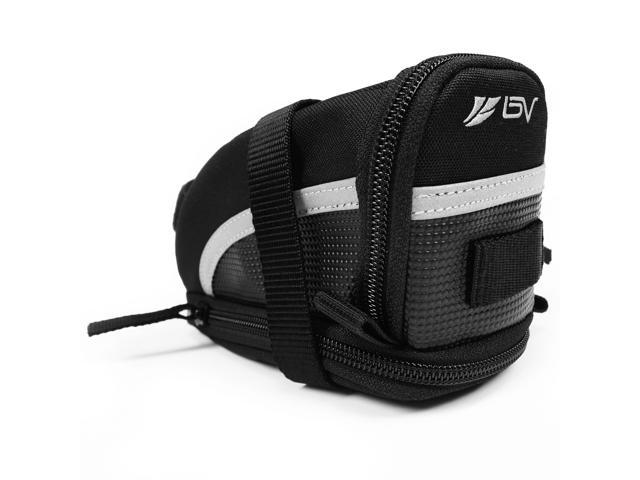 Ibera BV-SB1-M BV Bicycle Strap-On Saddle Bag/Seat Bag, 3M Scotchlite Reflective Trim, Expandable (Medium)