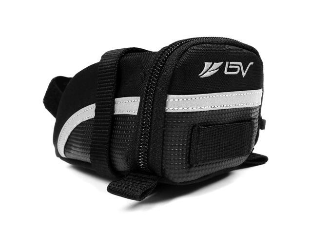 BV Bicycle Strap-On Saddle Bag/Seat Bag, 3M Scotchlite Reflective Trim (Small)