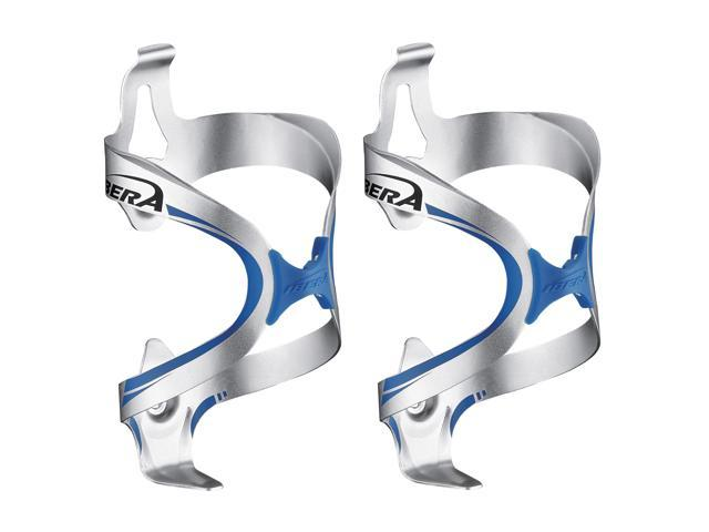 Ibera Bicycle Silver-Blue Fusion Water Bottle Cage Pair - Rubber Grip Extra Lightweight