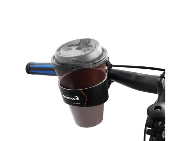 Ibera Bicycle IB-CB1 Black Handlebar Mounted Cup Holder with BarClamp Mount - Angled CupClamp Rim