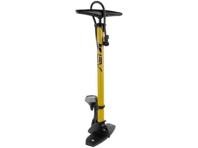 BV Bicycle Steel Floor Pump With Gauge, 160 psi, Reversible Presta and Schrader, Easy To Read Gauge