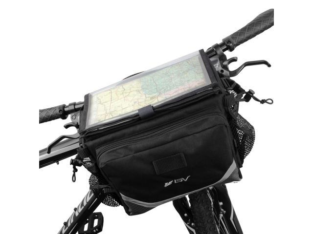 IBERA BV-HB105 Bicycle Map Sleeve Quick-Release Handlebar Bag, Two Mesh Pockets with Bungee Drawstrings, 3M Reflective Trim