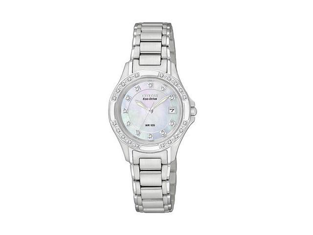 Citizen Silhouette Eco-Drive Diamond Pearl Dial Steel Ladies Watch EW2130-51D