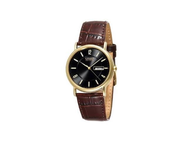 Citizen Eco Drive Black Dial Gold-tone Steel Brown Leather Mens Watch BM8242-08E
