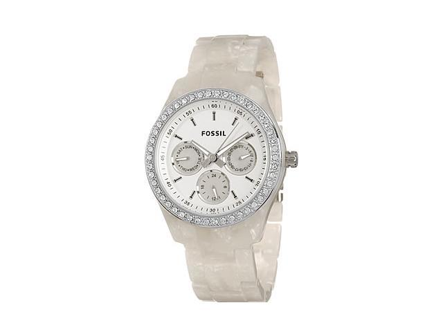 Fossil White Plastic White Dial Multifunction Ladies Watch ES2790