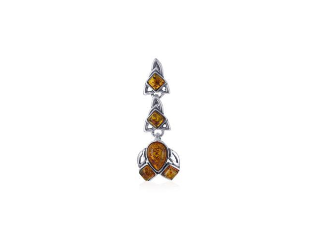 Sterling Silver 38mm X 12mm Brown Amber Vintage Style Pendant Charm