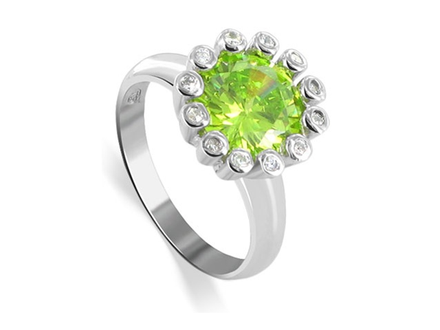 .925 Sterling Silver Band Peridot Cubic Zirconia Flower Ring Size 5