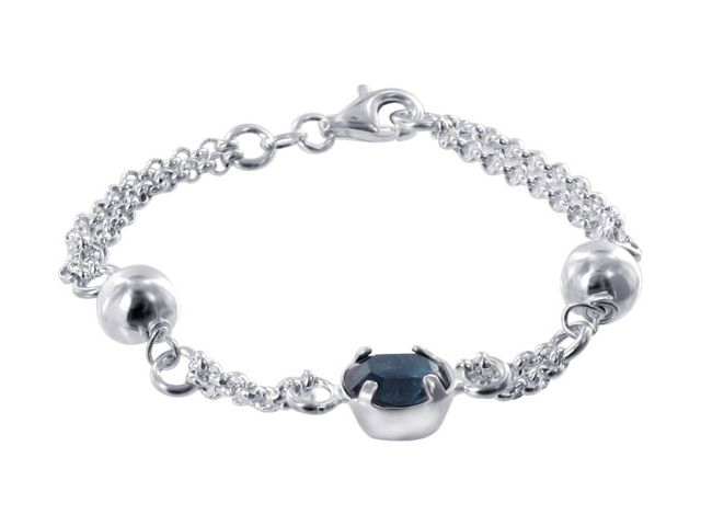 .925 Sterling Silver Dual Chain with 7mm Ball and 10 x 9mm Oval Blue Cubic Zirconia 6.5