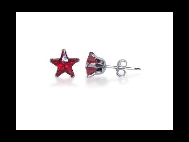 Sterling Silver 6mm Star Garnet Cubic Zirconia Post Stud Earrings