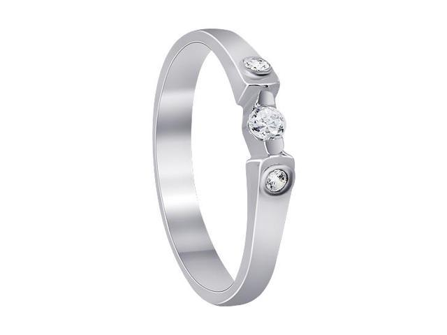 Sterling Silver Unique 3-Stone Design Clear Cubic Zirconia Ring Size 5