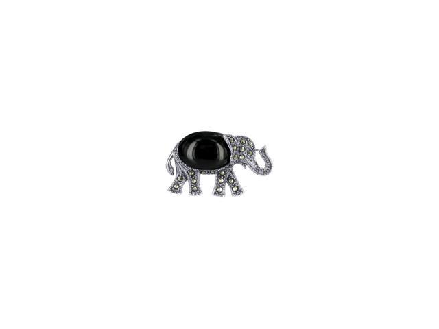 Sterling Silver Marcasite Simulated Black Onyx Inlay Elephant Pin Brooch 0.9 X 1.4 inch