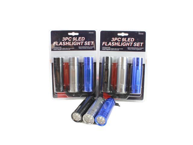 Neiko Super-Bright 9-LED Compact Aluminum Flashlight (Pack of 9)