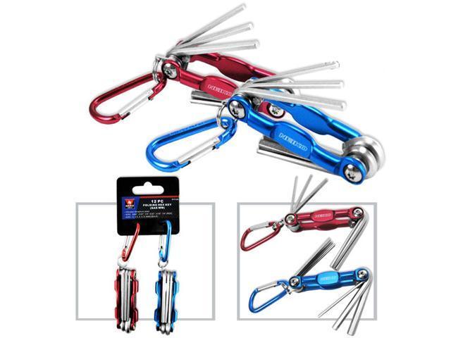 Neiko Pocket Size Folding Hex Key Wrench Set with Keychain Snap Hook