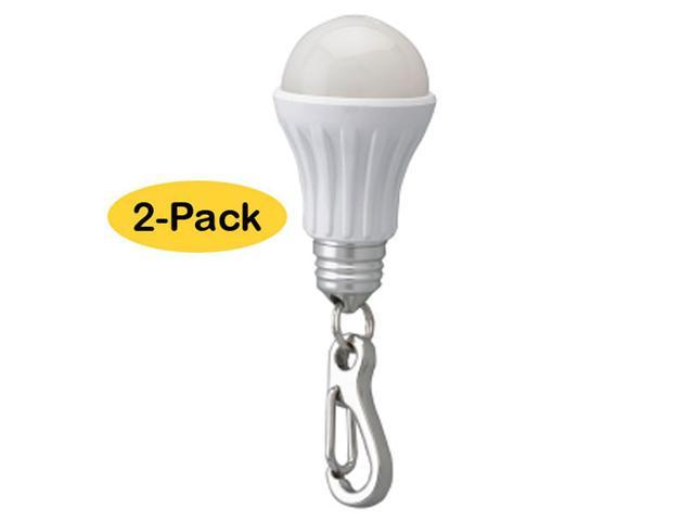 Neiko 2-Pack Keychain LED Light Bulb Charm Flashlight - White