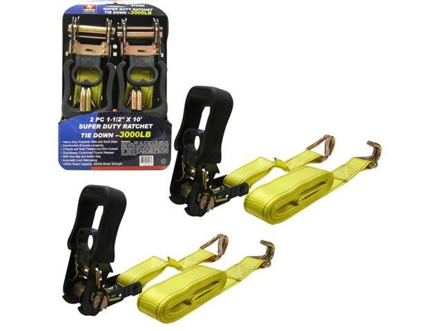 Neiko 2-Piece Ratcheting Tie Down 1-1/2-in x 10-ft, 1000lb Capacity, 3000lb Break Strength