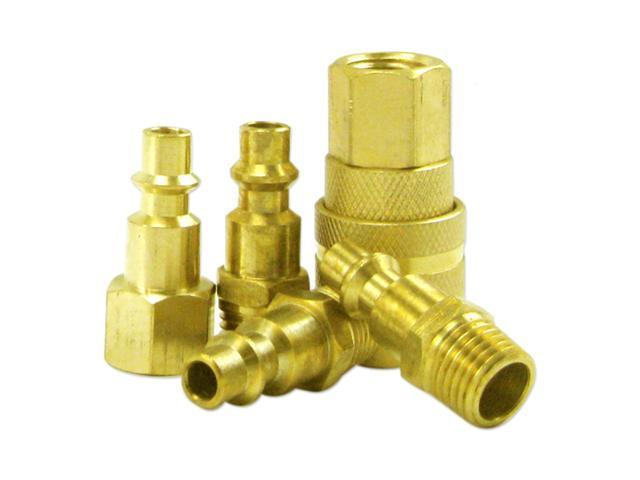 Neiko 5-Piece 1/4-Inch Brass Coupler Set-Milton Type