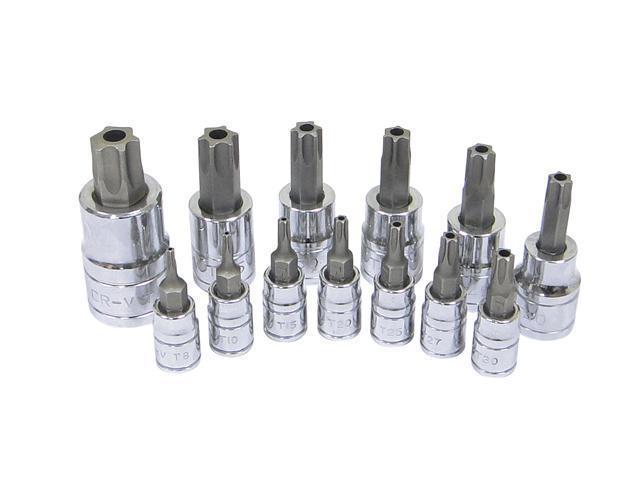 Capri Tools Torx Security Bits Socket Set, S2 Bits, T8H-T60H, 13-Piece