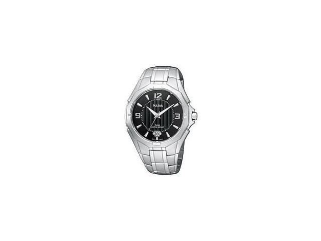 Pulsar Bracelet Collection Date Window Black Dial Men's watch #PXH821