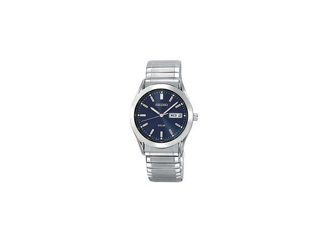 Seiko Solar Quartz Blue Dial Stainless Steel Mens Watch SNE057
