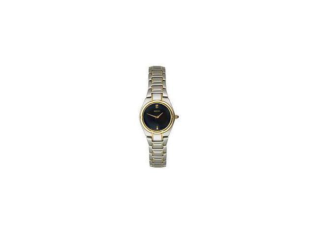 Seiko Two-Tone Bracelet Black Dial Women's Watch #SUJE34