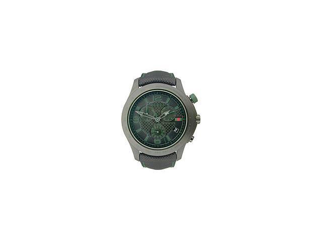 Gucci G-Timeless Chronograph Leather Strap Black Dial Men's watch #YA126225