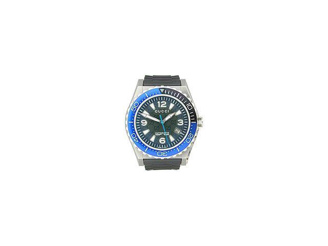 Gucci Pantheon Blue Automatic Diver Black Dial Men's Watch #YA115224