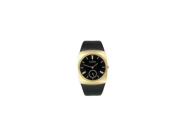 Skagen Steel Gold-tone Crystal 2-Hand Black Dial Women's Watch #511SGLB
