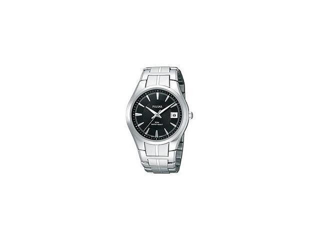 Pulsar Bracelet Collection Date Window Black Dial Mens watch #PXH913