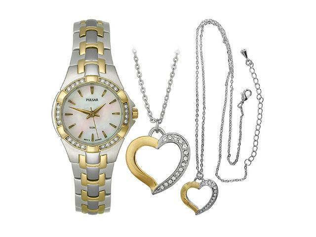 Pulsar Heart Pendant and Women's watch Box set #PTC536