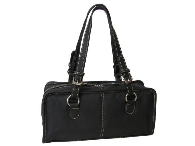 Classy Belt Stitched Leather Satchel (#1828-0)