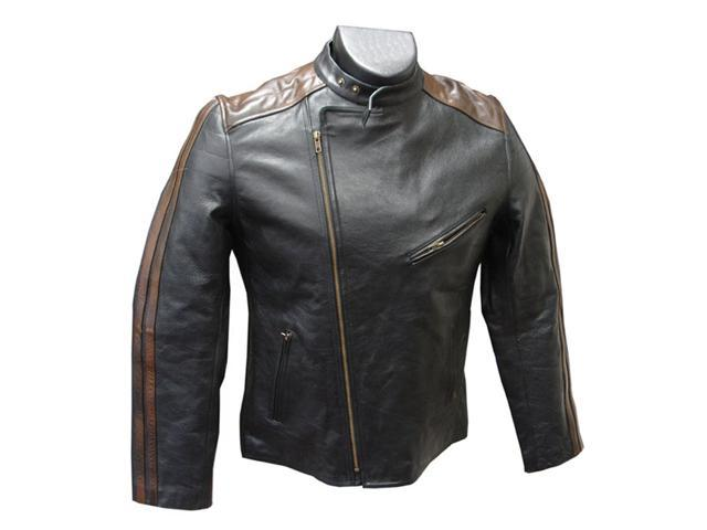 Dual Leather Stripe Motorcyle Jacket (#296)
