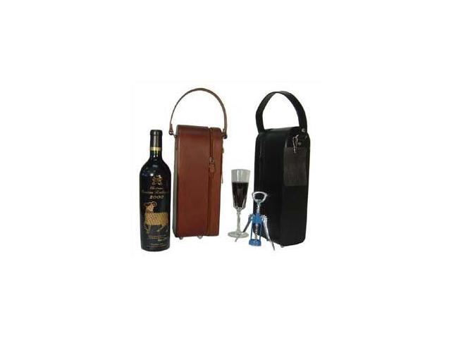 Black Leather Single Wine Case Holder (#21-02)